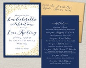 Navy Blue & Gold Confetti Bachelorette Invitation // Double Sided for Event Details