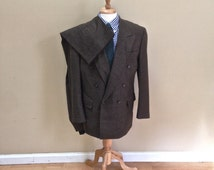 Vintage - Mens Green Houndstooth Double-Breasted Suit 42R