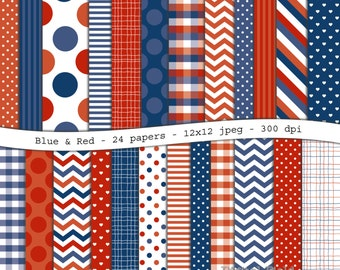 Blue&Red digital scrapbooking paper pack -24 printable jpeg papers, 12x12, 300 dpi - instant download