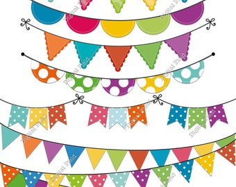 Colorful Polka Dot Bunting Clip Art Set - summer printable digital clipart - instant download