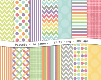 Pastel digital scrapbooking paper pack -14 printable jpeg papers, 12x12, 300 dpi - pastel chevron, polka dot, stripes, instant download