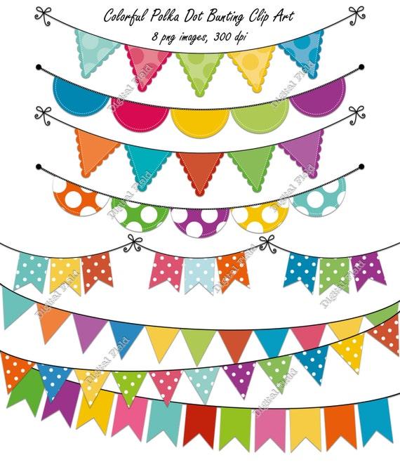 Items similar to Colorful Polka Dot Bunting Clip Art Set ...