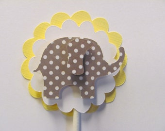 Cupcake Toppers, Set of 12, polka dot elephant cupcake toppers, baby shower decorations