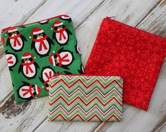 Personalized or Plain Christmas / Holiday Reusable Snack & Sandwich Bags (Choose the Print, Size, Number)