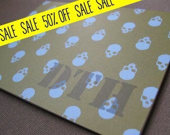 set of 10 personalized  folded note cards - skulls