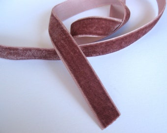 "Dusty Rose velvet ribbon  21/32"" wide sold by the yard"