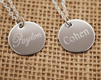 engraved name stainless steel personalized charm necklace