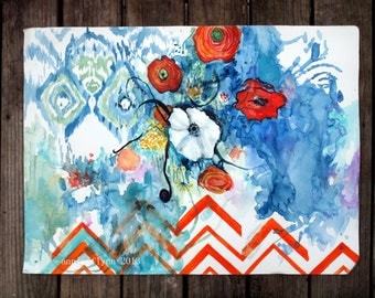 Ikat White Poppy on Sapphire with Tangerine Chevron