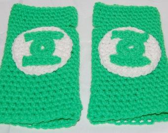 Crochet Green Fingerless Gloves