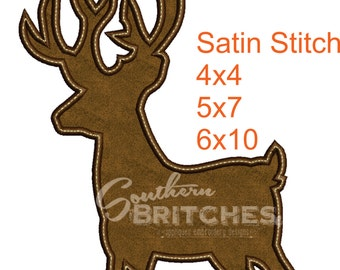 Deer- Silhouette- Applique, Satin Stitch-Machine-Embroidery-Design, Fathers Day Design. Match Daddy & Me decor w SouthernBritches-Deer.