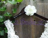 SALE Wedding Dress Hanger, Personalized Hanger, Bride Hanger, Wedding Hanger, Bridal Shower Gift, Ivory Flower