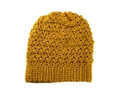 Womens Mens Ripple Slouchy Beanie Hat in Mustard Yellow