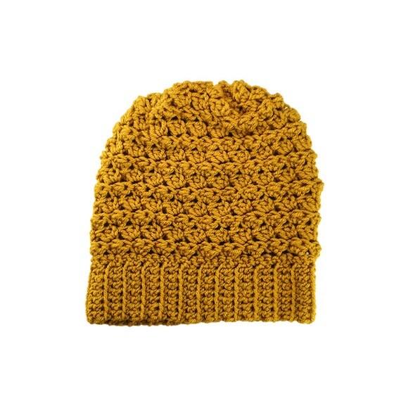 Womens Mens Ripple Slouchy Beanie Hat in Mustard Yellow