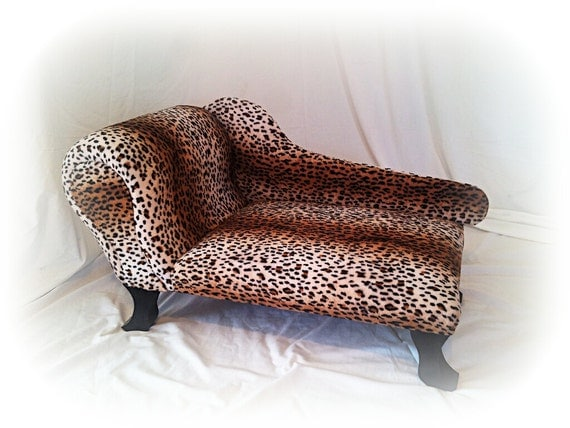 Items similar to petsy decor chaise lounge pet bed leopard for Animal print chaise lounge