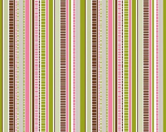 Dainty Blossoms pink and green stripe fabric by Riley Blake