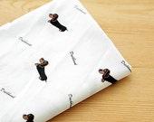 Cotton Fabric Dachshund - White - By the Yard Animal Fabric 38902