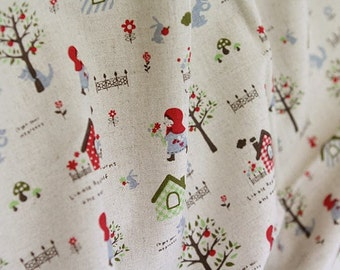 Cotton Linen Blend Little Red Riding Hood - Red - By the Yard 40647