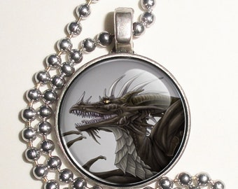 Gray and Black Dragon Altered Art Photo Pendant, Earrings and/or Keychain Round, Silver and Resin Charm Jewelry