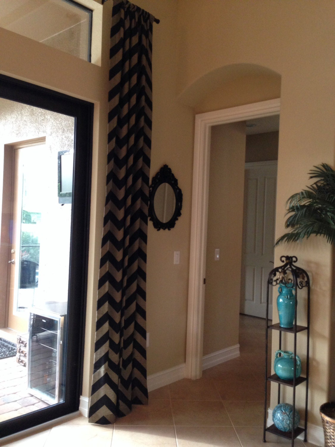 gorgeous black and tan wide chevron curtain by Rattan Shades with Valance Black and Tan to Go Americana Kitchen Curtains
