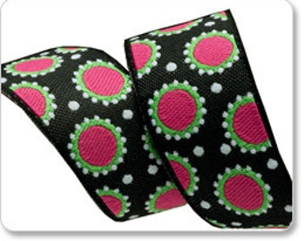 "JANE SASSAMAN 7/8"" ribbon--Pink/Black Dotty--price is per yard"