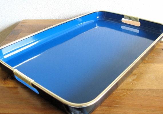 large blue and black plastic serving tray. Black Bedroom Furniture Sets. Home Design Ideas