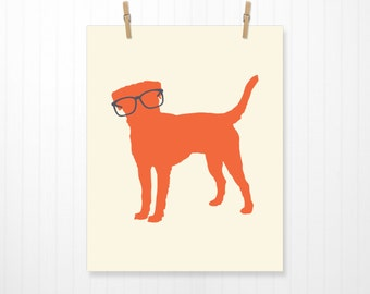 Dog Wearing Glasses, Dog Wall Art, Dog Art, Dog Print, Puppy Print, Puppy Art, Glasses, Home Decor, Animal Print, 5 Sizes to Choose From