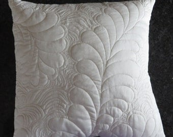 "Quilted and Feathered Pillow Cover, 14"" X 14"" - version 2"