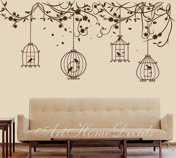 Items similar to nature wall decal birds wall decal branch for Bird wall mural