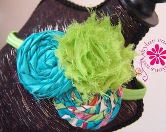 KIDS HEADBAND - Blue & Green Headband - Girls Headband -Boutique style - Shabby Chic - aqua and green