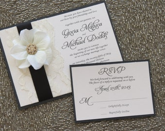 BLAIR: Black and Ivory Lace Wedding Invitation, Flower Invitation, Satin Ribbon Invitation, Bridal Shower Invitation