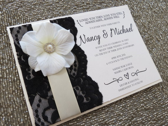 blanca black ivory and lace wedding invitation