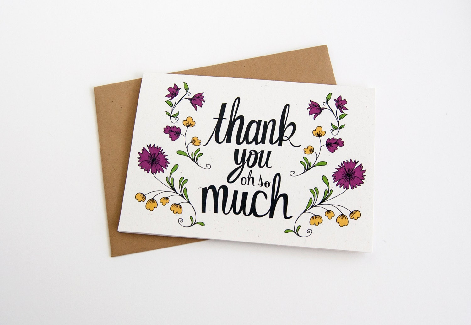 Thank You Card Vintage Floral Hand Drawn Typography By