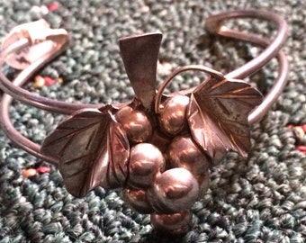 SALE - Vintage Sterling Silver Grape Cluster Mexican Cuff Bracelet