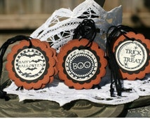 Halloween Gift Tags - Set of 9 Halloween Treat Tags with twine