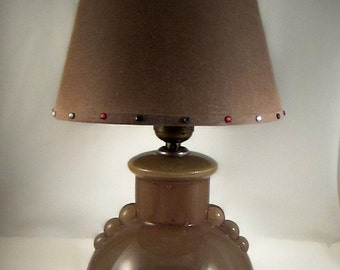Antique, Glass Lamp, Idealite USA, Reverse Painted Glass Lamp with Vintage Shade