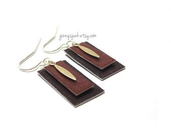 Shades of Brown Layered Earrings - Paper Jewelry with Metal Charm - Layered Earrings - Sterling Silver Ear Wires
