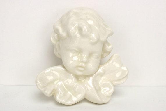 Vintage French Cherub Angel Wall Hanging White Porcelain Shabby Chic Epsteam