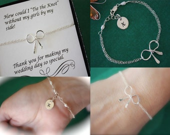 4 Initial Bow Bridesmaids Bracelets, Tie the Knot, Bridesmaid Gifts, Sterling Silver Bow, Initial Bracelets, Knot Bracelets, Thank you card