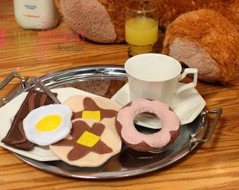 Breakfast felt food play set , dress up , dramatic play , gift , children , Christmas , birthday