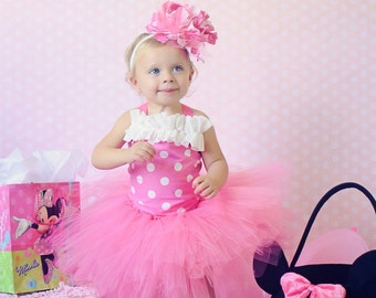 Pink and white Minnie Mouse inspired tutu outfit , tutu , corset top , headband , 1st birthday , Halloween , pageant , Disney