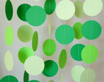 Green Paper Garland, Baby Shower Decor, St. Patrick's Day, Boy's Birthday Party, 3 shades of green, 10 ft. long