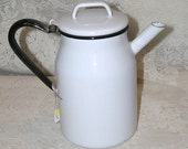 Vintage White Enamelware Pitcher Black Trim Very Clean Excellent Condition