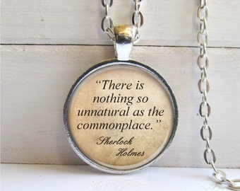 Sherlock Holmes Quote Necklace, Word Jewelry, Literary Pendant, Book Quote Jewelry