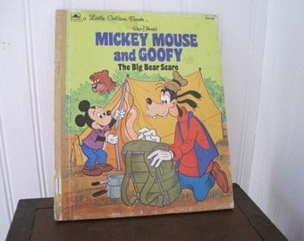 Vintage Mickey Mouse and Goofy, The Big Bear Scare, Little Golden Book