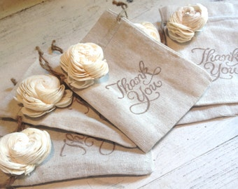 Thank You Linen Bags by Burlap and Linen Co