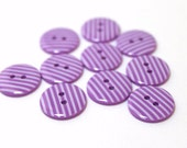 Purple and white striped 2 hole buttons. 15mm. Pack of 10
