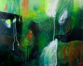 """Large 24 x 30"""" Size Contemporary Modern Abstract Mixed Media Painting Art on Canvas Green Masculine Black Orange by Julie Robertson"""