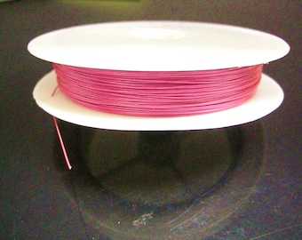 50 Meter Tiger Tail Colored Beading Wire deep pink-7914