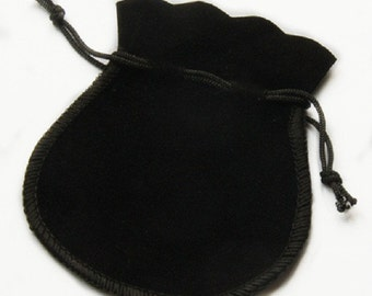 8 black 3.5x3inch velvet small gift bag pouches-7047