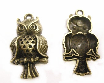 6pc 31x16mm antique bronze metal alloy  owl pendant-8388